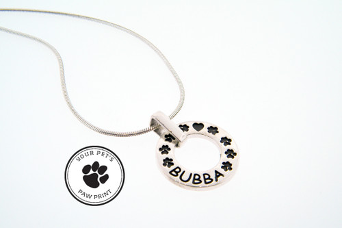Infinity Pendant with Recessed Details and Custom Paw
