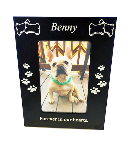 4 Paws Photo Frame - Black Metal with Bones