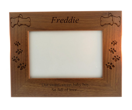4 Paws Photo Frame - Natural Walnut with Bones