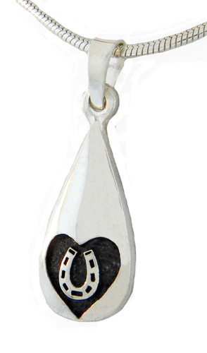 Captured Heart Tear Drop Pendant with Horseshoe