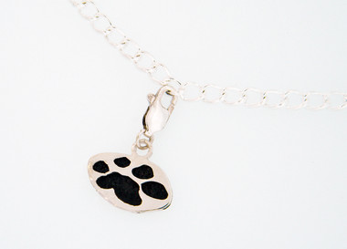 "Shown with Black Paw on 7.5"" Sterling Silver Charm Bracelet"