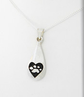 4 Paws Tear Drop Pendant - Captured Heart - Sterling Silver