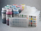 Refillable Cartridge Kit for Epson Pro 4900 with 11 x 500 ml bottles of Cave Paint Elite Enhanced pigment inks