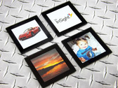"Ink2image InSight Glass Photo Coaster, Black, 4"" x 4"", pack of 4"