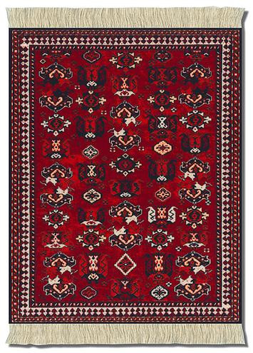 Maroon Bokhara Miniature Rug Museum Store Company Gifts