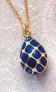 Imperial Blue Argyle Faberge Inspired Egg Pendant - Russia, 18th - 19th Century - Photo Museum Store Company
