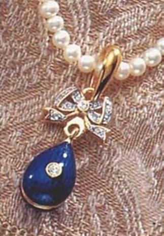 Imperial Blue Egg on Bow with Pearl Necklace - Faberge Inspired - Russia, 18th - 19th Century - Photo Museum Store Compa