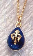 Imperial Blue Fleur de Lys Faberge Inspired Egg Pendant - Russia, 18th - 19th Century - Photo Museum Store Company