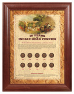 Collector's 10 Years of Indian Head Pennies - Wood Frame - Actual Authentic Collectable - Photo Museum Store Company