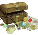 Collector's Treasure Chest with Replica Pirate Coins, Foreign Coins, Gems, Necklace Coin Jewelry  - Replica Coins - Phot