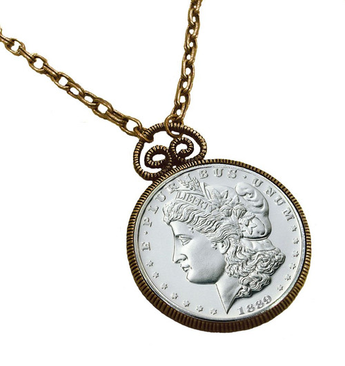 Collector's 1889 Carson City (CC) Morgan Dollar Replica Pendant 30 Chain - Replica - Photo Museum Store Company