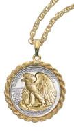 Silver Walking Liberty Half Dollar Marcasite Coin Pin