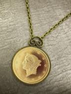 Collector's $1 Type 1 Liberty Head Dollar Gold Piece Replica Coin in Antique Goldtone Pendant Coin Jewelry - Replica Coi