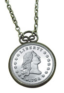 Collector's 1794 Stella Flowing Hair Dollar Replica Coin in Antique Silvertone Pendant Coin Jewelry - Replica Mint Coin