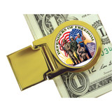 Collector's Goldtone Defenders of Freedom New York Statehood Quarter Moneyclip - Actual Authentic Collectable - Photo Mu