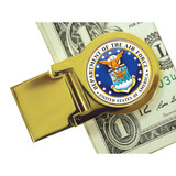 Collector's Goldtone Moneyclip with Colorized Air Force Washington Quarter - Actual Authentic Collectable - Photo Museum