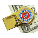 Collector's Goldtone Moneyclip with Colorized Marines Washington Quarter - Actual Authentic Collectable - Photo Museum S