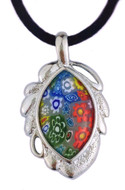 "Medieval Venecian Leaf Necklace - Murano Glass Pend W/Silk Cord 18"" - Photo Museum Store Company"