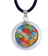 "Medieval Venecian Circle Necklace - Murano Glass Pend W/Silk Cord 18"" - Photo Museum Store Company"
