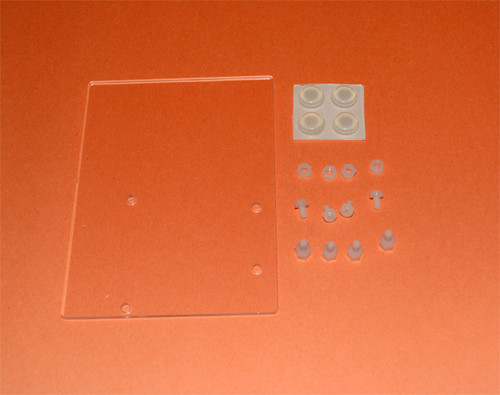 Plastic mounting plate for breadboard and Arduino w rubber feet