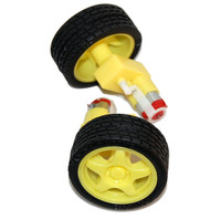 "A pair of rubber tires of diameters 2.5"" and a pair of gearmotors (100:1)."