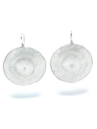 Woven Silver Circle Earrings BLE68S