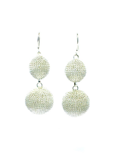 Woven Hand Knit Silver Two Balls Earrings BLE5S