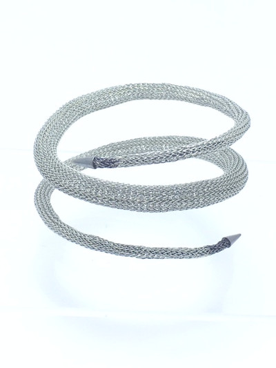 Woven Hand Knit Coil Silver Bracelet  BLB75S
