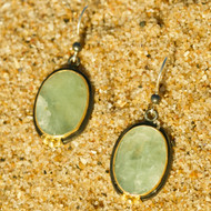 Stirling Silver 14k Gold Oval earrings with Aquamarine stone.