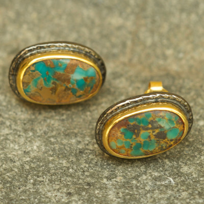 Alexander Stud Earring Iranian Turquoise 22k Gold Rhodium plating