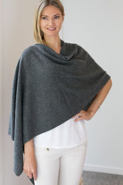 The model wears Cashmere Shawl Charcoal