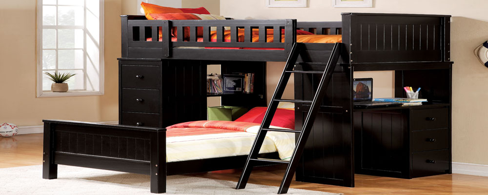 Black Twin Loft Bed with Desk