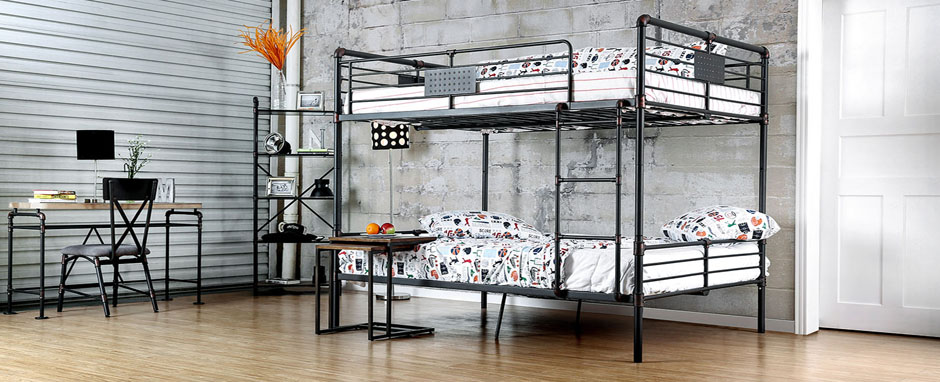 Industrial Piping Metal Full Bunk Bed