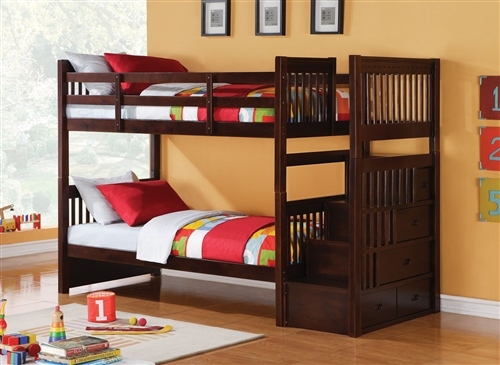 Twin Wood Bunk Bed with Stairs
