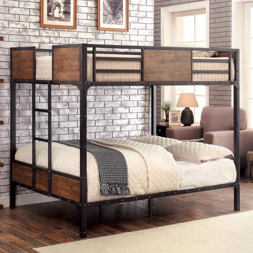 Furniture of america industrial metal wood full bunk bed for Furniture of america loft bed