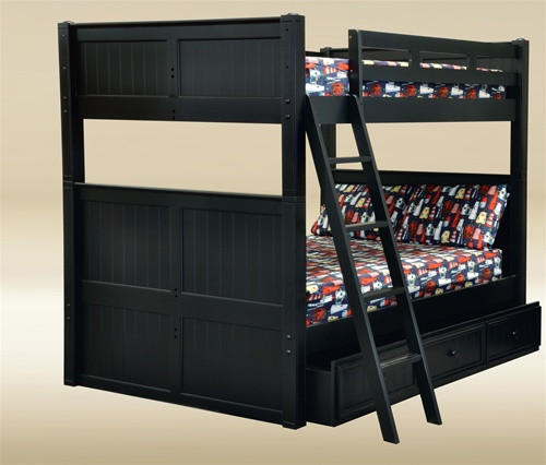 Dillon Black Full Over Full Bunk Bed Trundle Drawers