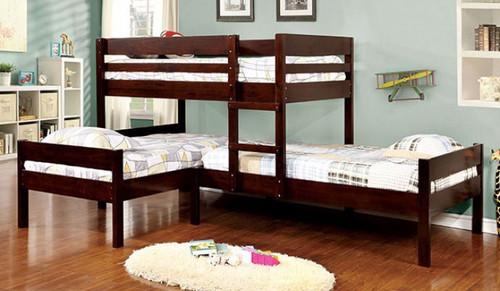 Corner Triple Twin Bunk Bed in Espresso | Furniture of America BK626
