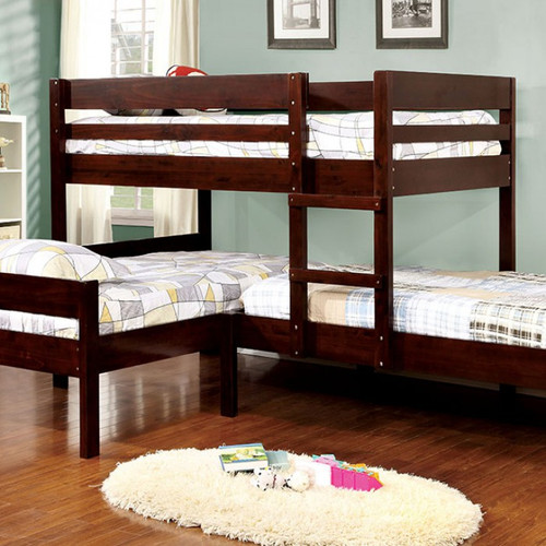 corner triple twin bunk bed in espresso. Black Bedroom Furniture Sets. Home Design Ideas