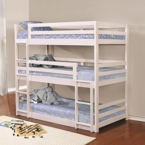 Triple Twin Wood Bunk Bed In White Finish