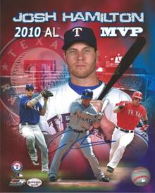 Josh Hamilton Autographed Texas Rangers 2010 MVP 8x10 Photo