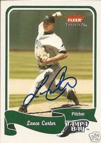 Lance Carter Signed Tampa Bay Rays 2004 Fleer Card