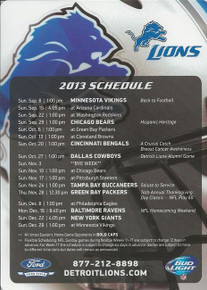 2013 Detroit Lions Ford Field Magnet Schedule SGA 9/8/13