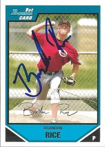 Brandon Rice Signed Cincinnati Reds Bowman Rookie Card