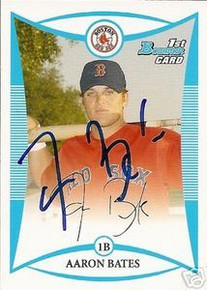 Aaron Bates Signed Red Sox 2008 Bowman Rookie Card