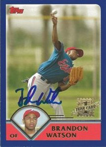 Brandon Watson Signed Expos 2003 Topps Rookie Card