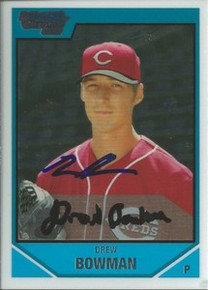 Drew Bowman Signed Cincinnati Reds Bowman Rookie Card