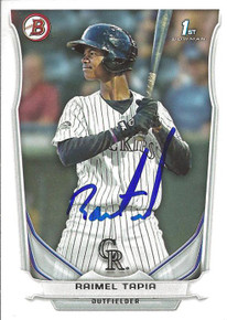 Raimel Tapia Autographed Colorado Rockies 2014 Bowman Rookie Card