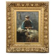 David de la Mar (Dutch, 1832-1898) Antique Oil Painting of Wool