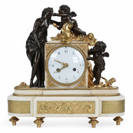 Exceedingly Fine Louis XVI Gilt and Patinated Bronze Mantel Clock c. 1790
