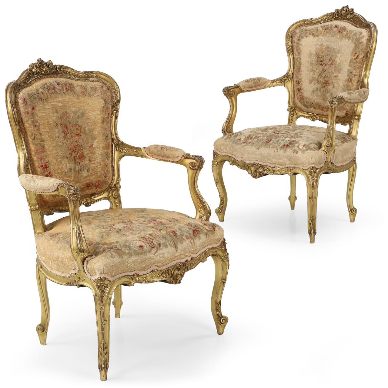 Exceptional Pair Of Gilt French Louis Xv Fauteuil Arm Chairs C 1870